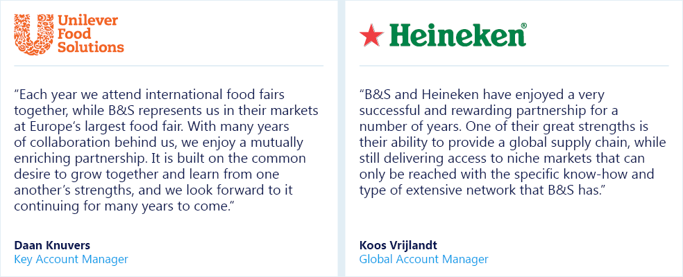 Supplier partnerships - Unilever Food Solutions / Heineken